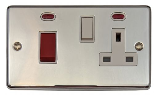 G&H CC29W Standard Plate Polished Chrome 45 Amp DP Cooker Switch & 13A Switched Socket
